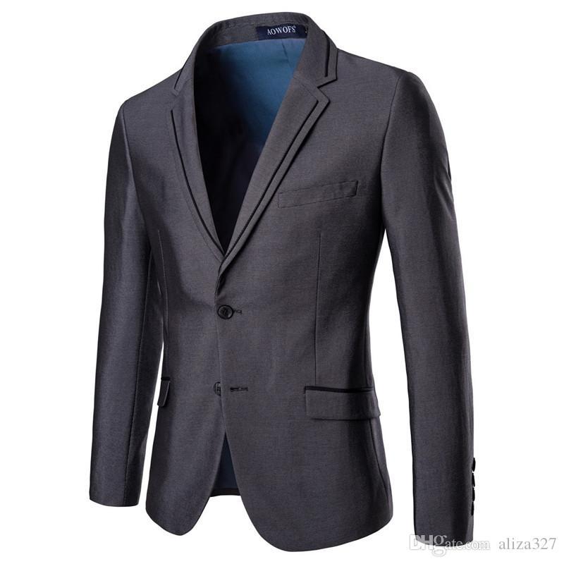 Yüksek kaliteli erkek iş rahat resmi takım elbise erkek ince tek düğmeli takım iki parçalı takım elbise Erkekler takım elbise (ceket + pantolon)