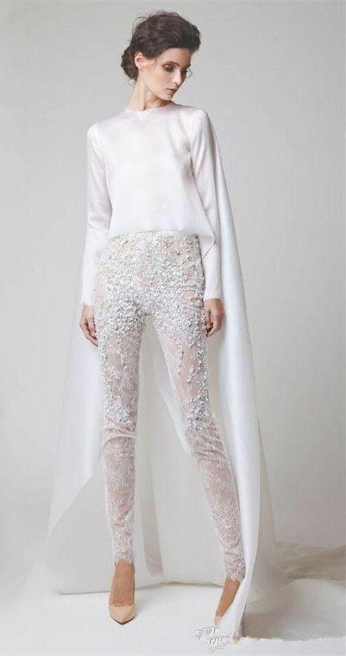 Sexy branco vestidos de noite duas peças chiffon lace pérola calças ver através de mangas compridas elio abou fayssal vestidos de noite com jaqueta de baile de finalistas