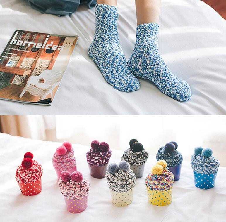 Free DHL Fashion Warm Socks Women Cup Cake Coral Cashmere Cotton Socks Creative Winter Soft Warm Socks Christmas Gifts