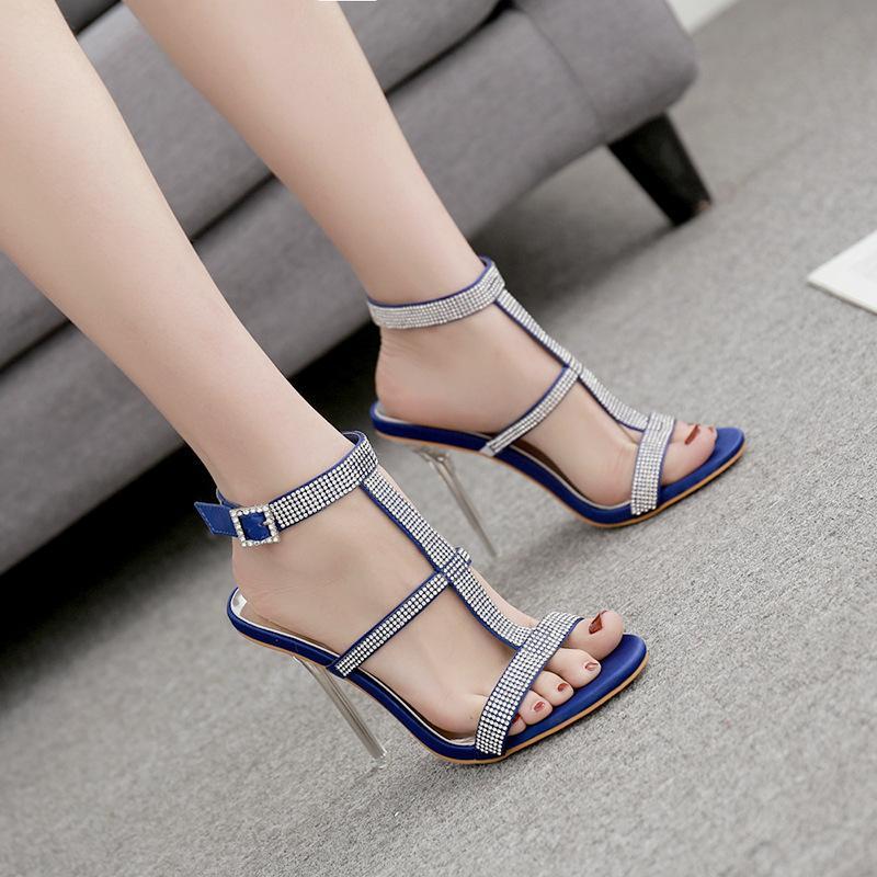 Lüks elmas taklidi T-kayışı tasarımcısı kadınlar yaz düğün Ayakkabılar stiletto topuklar parti sandalet mavi yeşil büyük boy 35-40