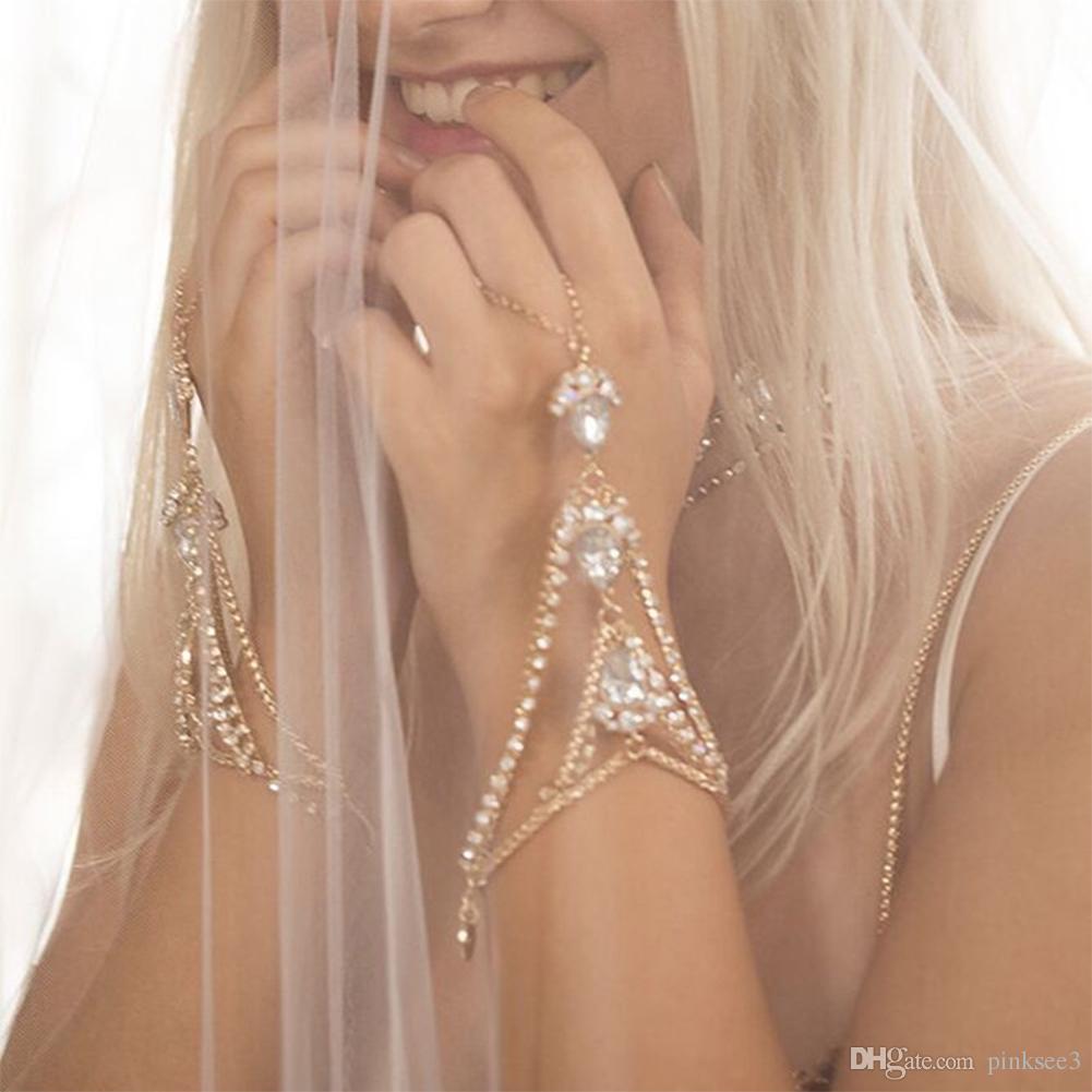 Women Fashion Rhinestone Bangle Slave Chain Link Interweave Finger Rings Hand Harness Beauty Bracelets Gold Pulseiras