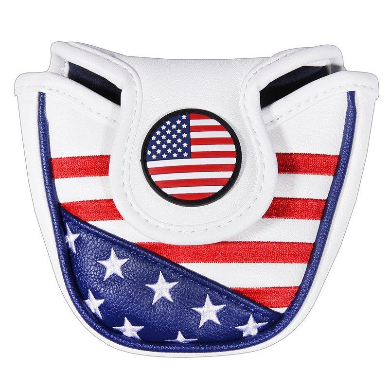 Golf Putter Başörtüsü ABD FLAG Mallet Putter Headcovers Golf Kulübü Başkanı Kapak Nakış PU Deri Manyetik Ücretsiz Kargo