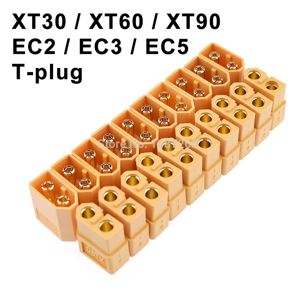 RC 부품 Bwkf에 대한 XT30 XT30U XT60 XT60H XT90 EC2 EC3 EC5 T 플러그 배터리 커넥터 세트 남성 여성 골드 도금 바나나 플러그
