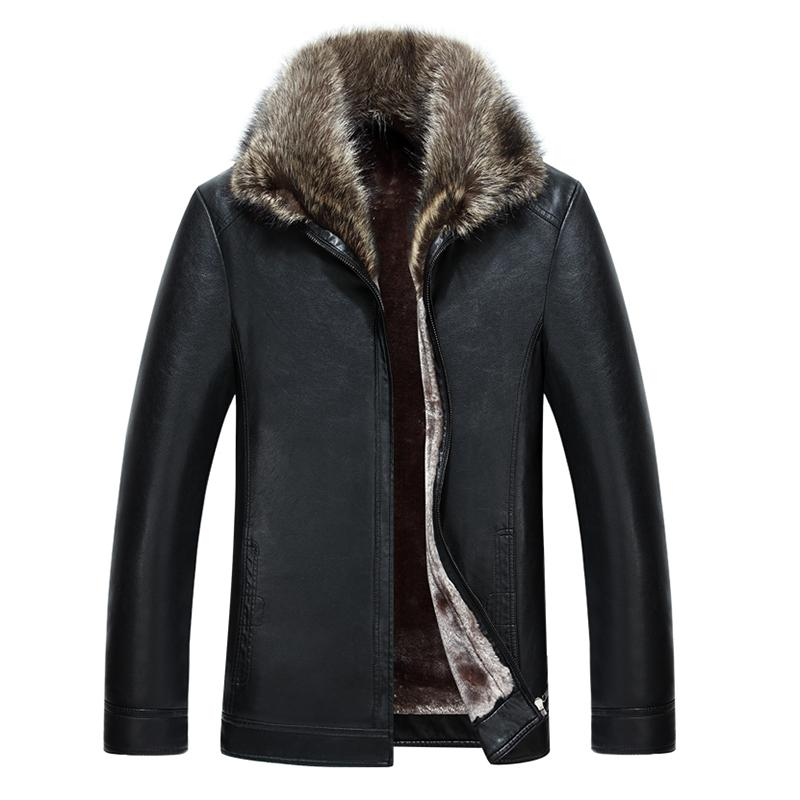2019 New Arrival Men Leather Jacket Faux Leather Jacket Winter Coat Raccoon Fur Collar Coat Men Warm Fur Liner