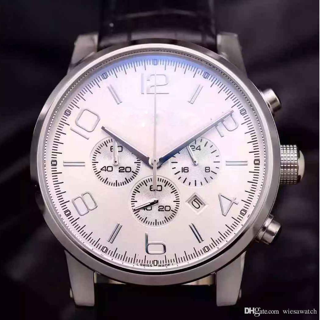 Mens Wristwatches Quartz Chronograph Time Men Bezel White Dial Analog Silver Steel Case Black Leather Belt Watch