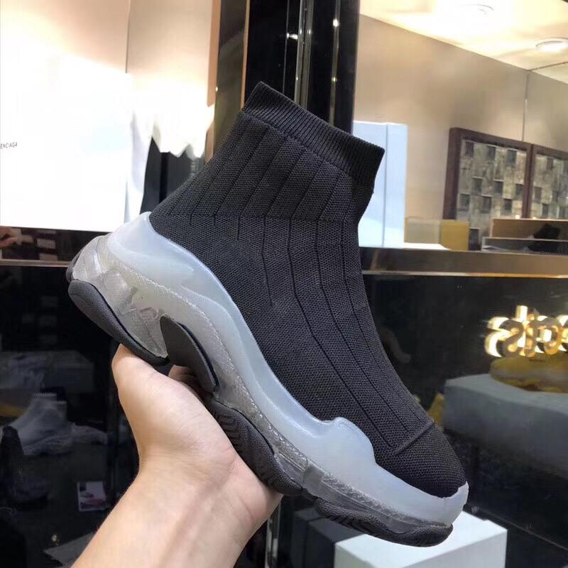 Hot Sale-Designer Women Shoes Speed Trainers Sock Boots White Slip-On Ankle Boots Women Sock Shoes Transparent Sole Mid-Top Boots