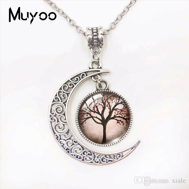 Tree of Life Beauty Trees Glass Dome Moon Pendants Tree of Life Beautiful Trees Colorful Tree Jewelry Hand Craft Moon Necklace