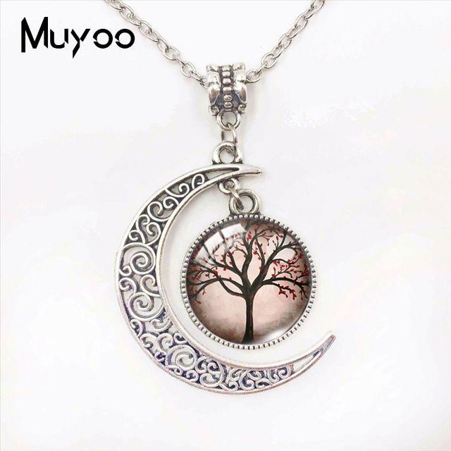 Baum des Lebens Schönheit Bäume Glaskuppel Mond Anhänger Baum des Lebens Schöne Bäume Bunte Baum Schmuck Hand Craft Mond Halskette