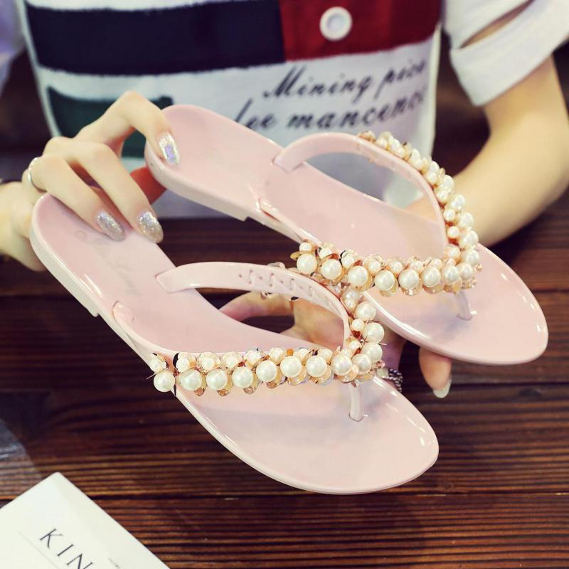 Женщины Тапочки Summer Pearl Beach Тапочки Вьетнамки Сандалии Главная Плоский Покрытием Вьетнамки Обувь Bling с блестками Zapatos Mujer