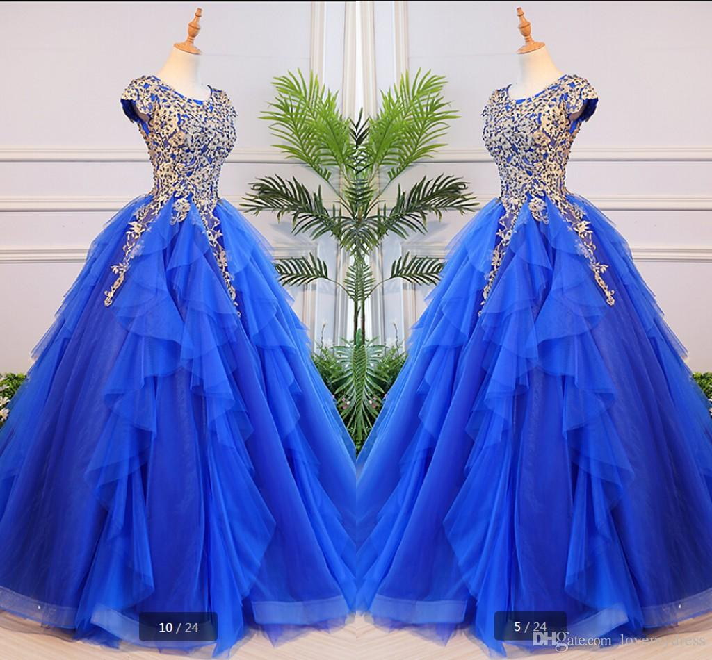 Gold Embroidery Beaded Royal Blue Prom Dresses Ball Gown Ruffles Tulle Round Neck Cap Sleeve Women Long Formal Dress Evening Gowns Party