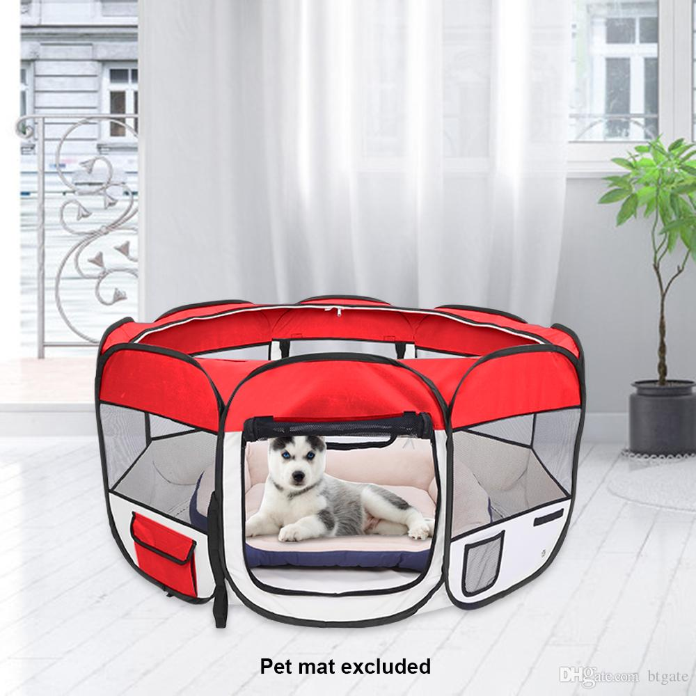 45inch Portable Foldable 600D Oxford Cloth & Mesh Pet Playpen Fence with Eight Panels Pet Puppy Soft Tent Dog Cat Crate Free Shipping