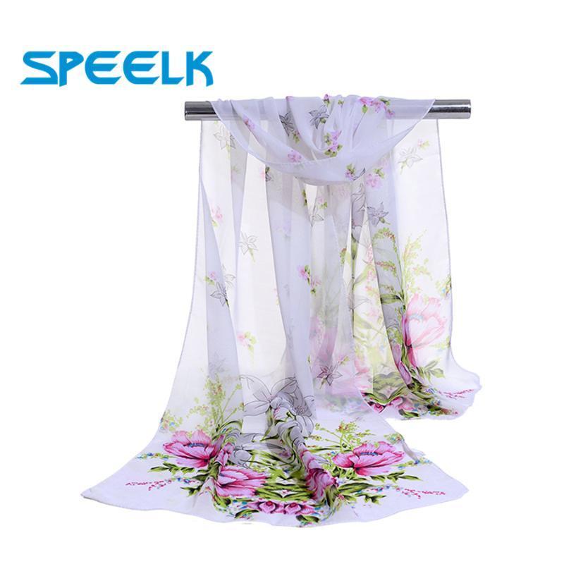 New coreano Flower Design Chiffon lenços Mulheres Silk Xaile Feminino Primavera Outono estrela de cinco pontas do lenço e Wraps Atacado