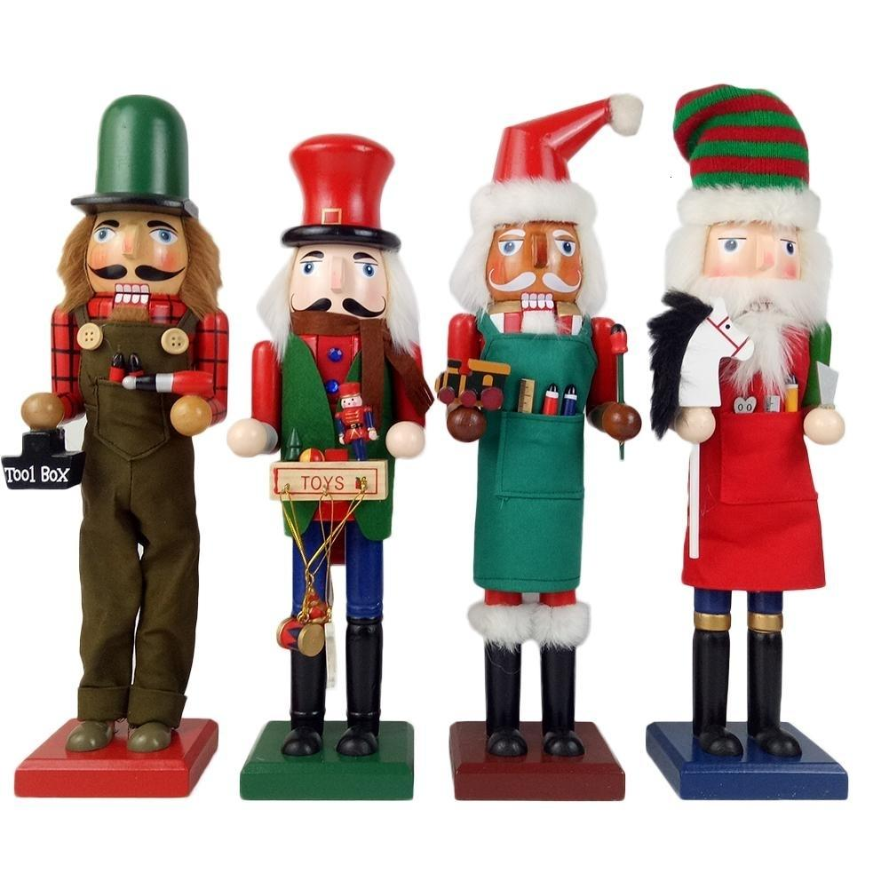 38CM Solid Wood Nutcracker Soldiers Gift Set Classic Hand Painting Doll Great Decoration For Office Home Christmas SH190920