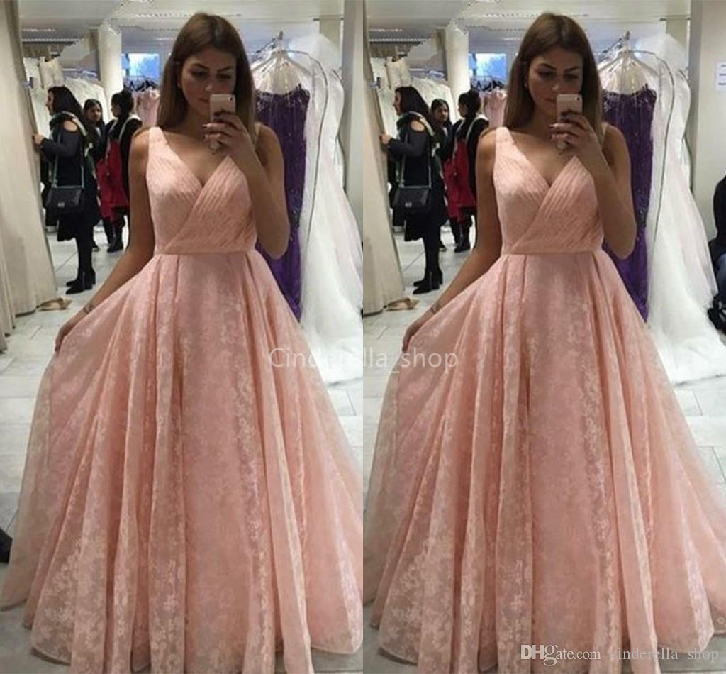 Großhandel Schöne Rosa V Ausschnitt Ballkleider Lange 16 Spitze Falte  Ärmellos A Line Verlobungsfeier Kleider Von Cinderella_shop, 16,16 € Auf