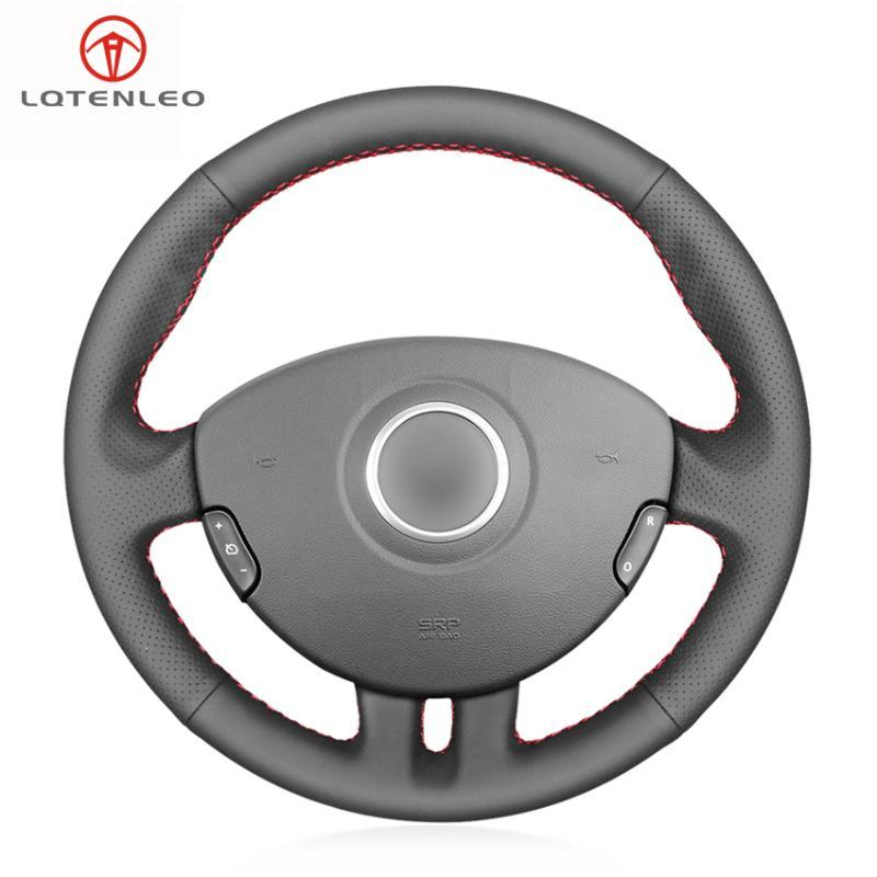 LQTENLEO Black Genuine Leather Steering Wheel Cover For Clio 3 2005 2006 2007 2008 2009 2010 2011 2012 2013