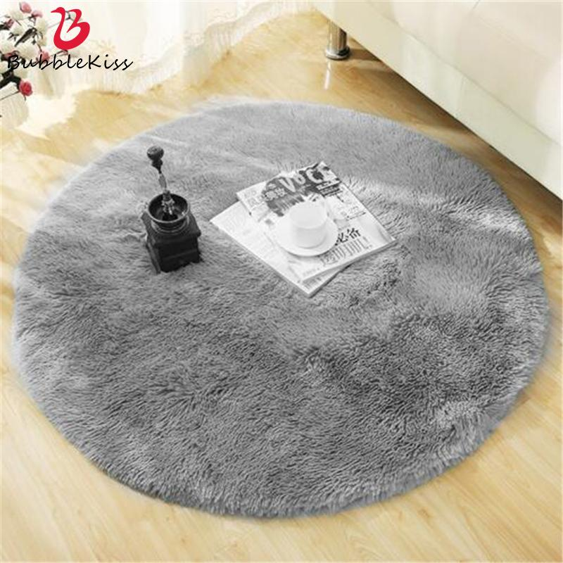 Redondo macio tapete Tapetes for Living Room Decor Faux Fur Tapetes Crianças Long Room Plush Tapetes para Quarto Shaggy tapete de área Modern Mats Y200527