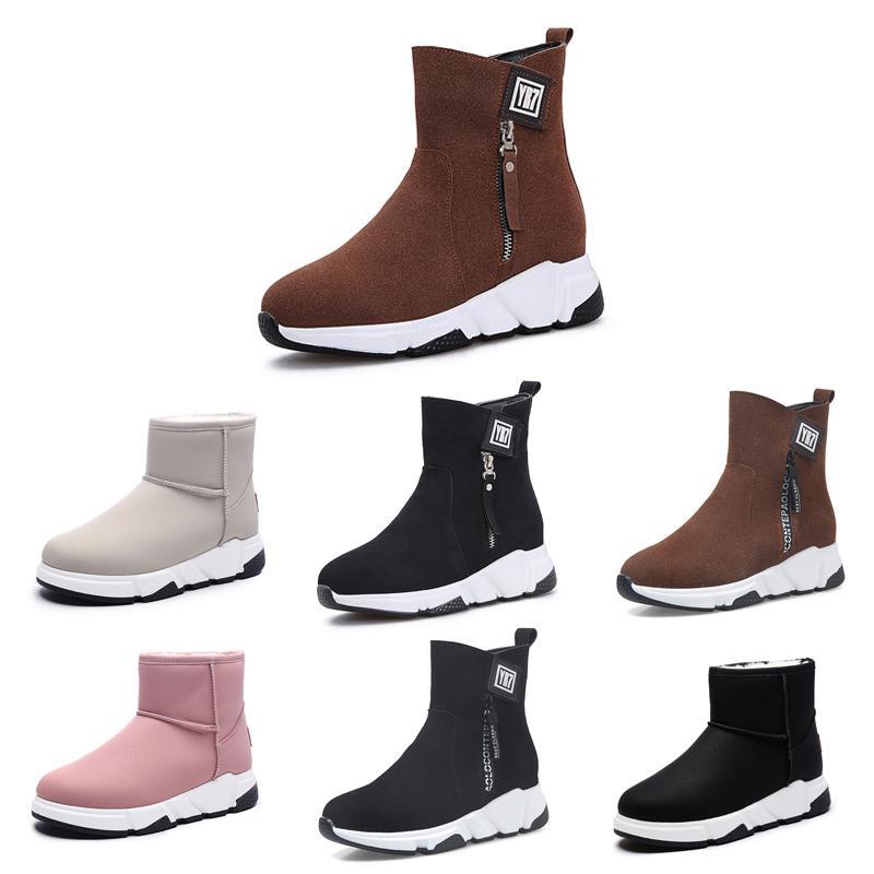 2020 Günstige Non-Markenentwerfer Winterstiefel für Frauen Triple Black Red Beige Brown Leder und Wildleder Schnee Stiefeletten Warmhalte 35-40 Art 14