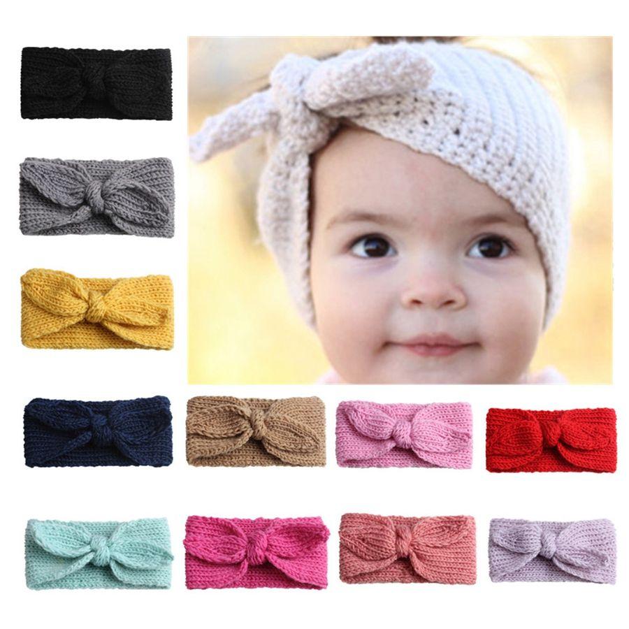 Bebê de malha Warmer Headband Menina do coelho bonito Ears Crochet Faixa de Cabelo Ear Outdoor festa de Natal Proteção presente TTA1886
