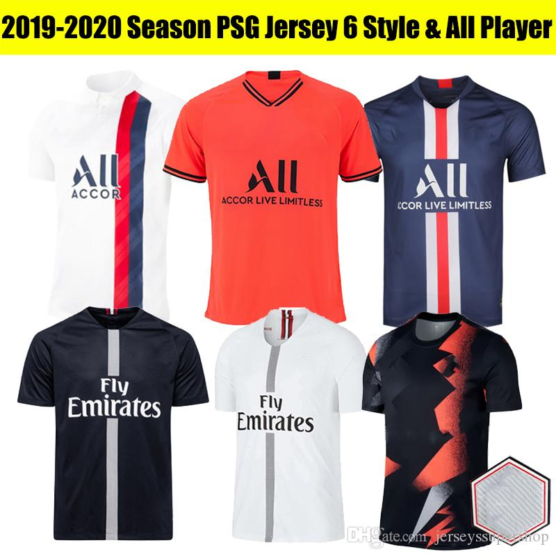 PSG 2019 2020 Nouveau joueur Version Paris Germain Football Maillots MBAPPE CAVANI SARABIA Verratti DI MARIA shirt Paris Homme football avec LOGO TOUS