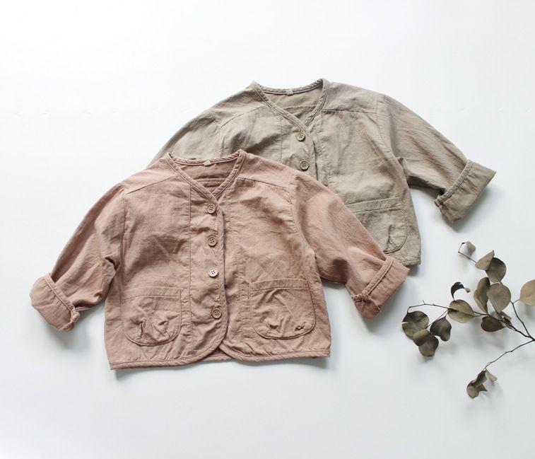 Korean Kids Girls Boys Fashion Jackets&coats Linen Clothings Casual Children Mori Style Clothes