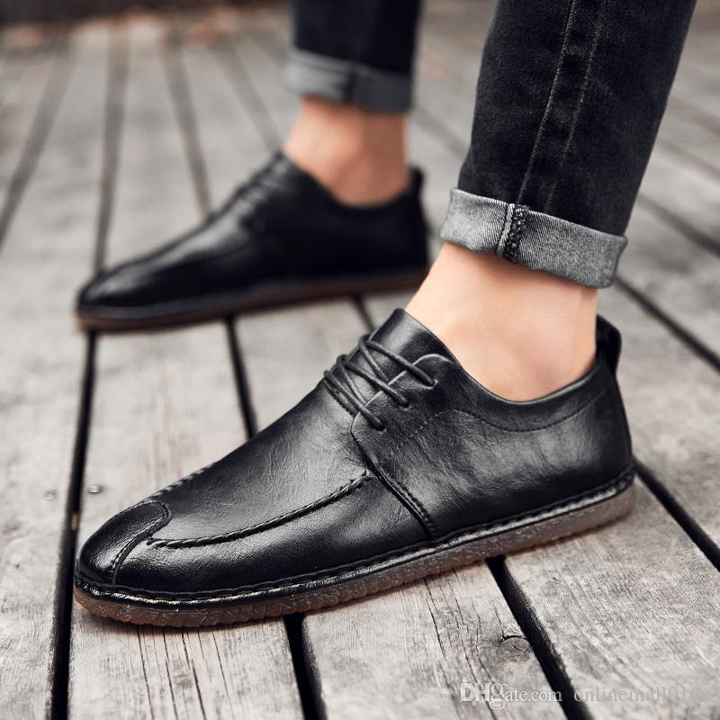 finest fabrics 2019 best clearance sale Men Dress Shoes Leather Soft Sole Driving Lace Up Mens Loafers Fashion  Oxford Shoes For Men Round Toe Formal Shoes Mens Boat Shoes Loafers For  Women ...