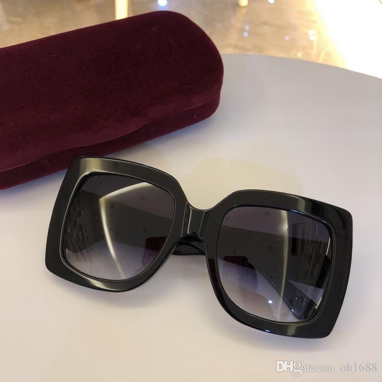 2020 nuove donne di modo degli occhiali da sole 5 colori progettazione telaio cristallo lucido piazza grande cornice calda signora di disegno dell'obiettivo UV400 con il caso