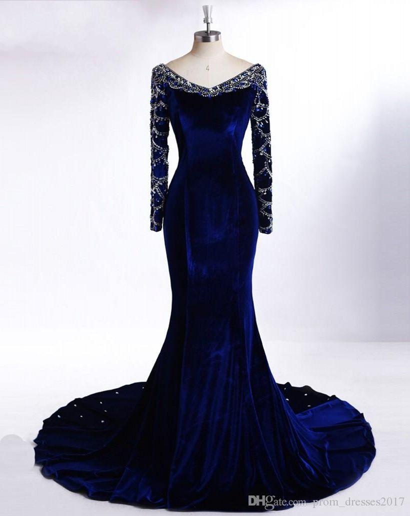 Royal Blue manga comprida Vestidos até o chão New Arrival frisada Árabe Evening Vestidos Plus Size partido Prom