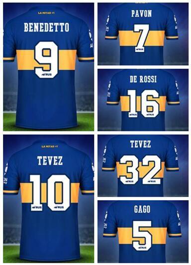 2020 Özelleştirilmiş De Rossi 16 PAVON 7 Tay Kalite Futbol Jersey, BENEDETTO 9 TEVEZ 32 TEVEZ 10 MAURO 19 Özel spor futbol forması yakuda