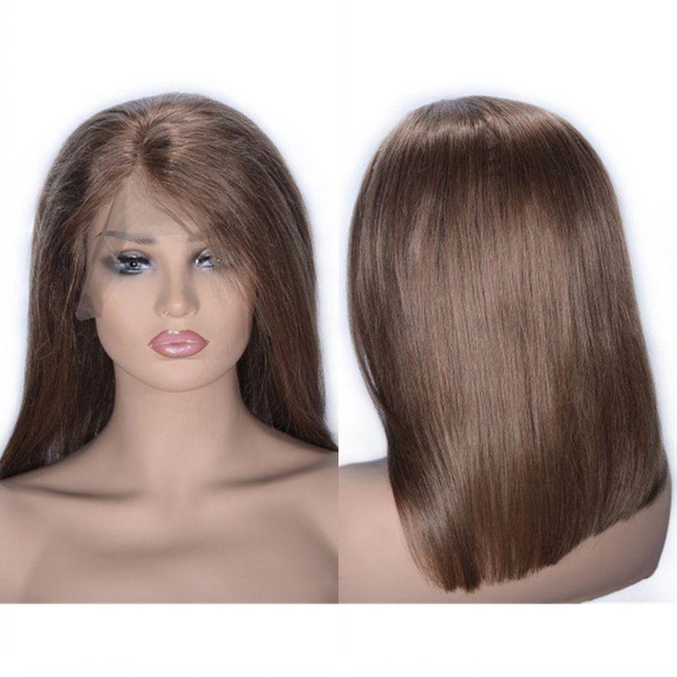Gerade Bob Perücke 6 # brasilianische Menschenhaar-Spitze-Front-Perücke 130% Dichte freier Teil Garaus Wig