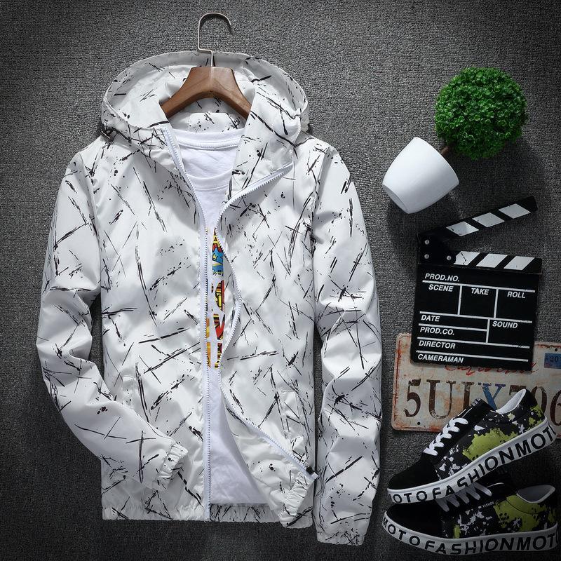 Abbigliamento Bomber Giacche Uomo Plus Size cappotto degli uomini di stampa Ink con cappuccio maschile giacca sportiva degli uomini Primavera Estate M-XXXL