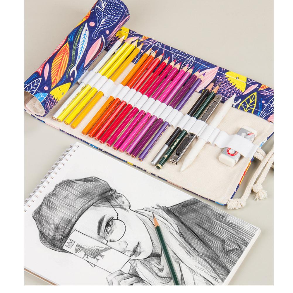 Bureau Crayon cas 36 48 72 trous Sac pochette de rangement Pen Organisateur rideau rouleau de toile Stationery Box école colorés Filles Garçons