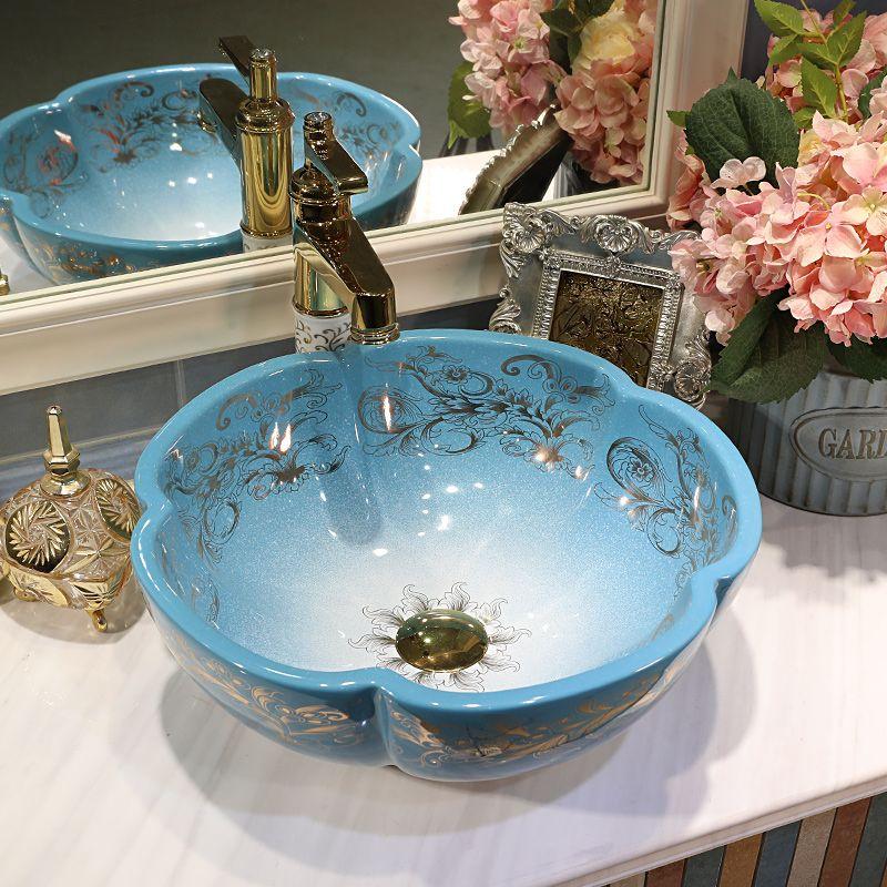 Çiçekler Stil Seramik Sanatı Havzası Lavabo Tezgah Üstü Lavabo Banyo Lavabo bir lavabo şampuan vanities