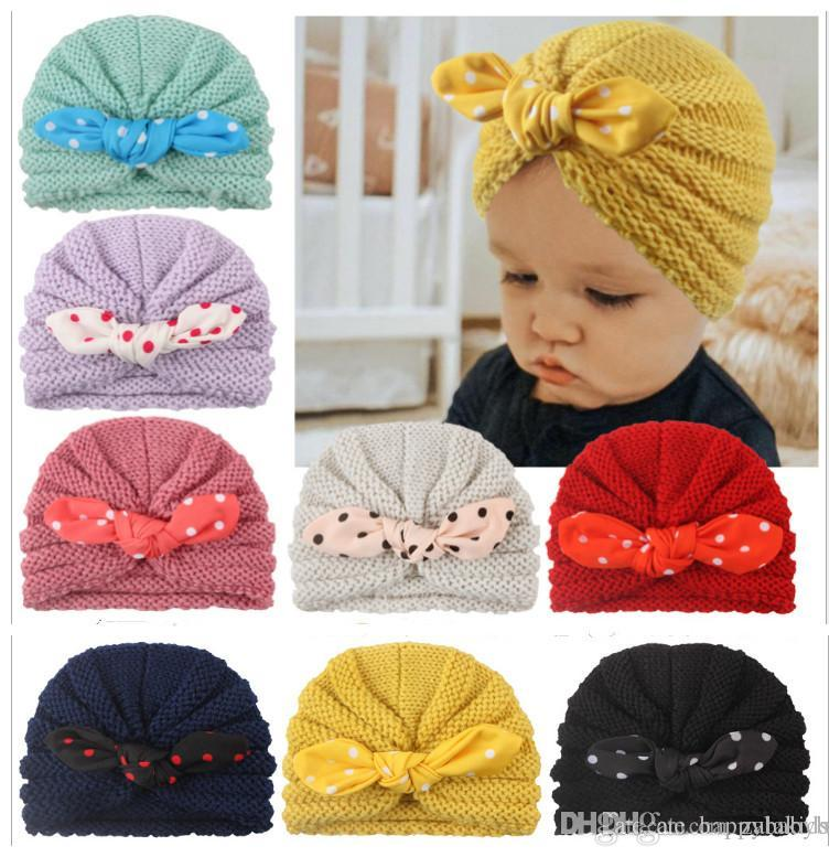 Bunny Ears Winter Hat For Kids Babies Knitted Cap Beanie Toddler Head Wear Hats