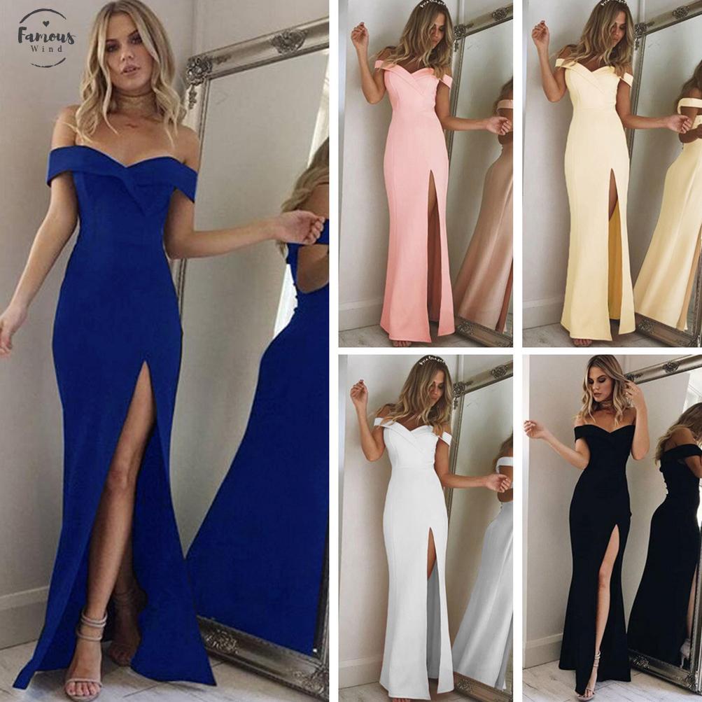 2020 As Mulheres De Verão Vestem-Se Elegantes Festas À Noite Vestidas Sensuais Vestidas Azuis Magras De Algodão Maxi Vestido Feminino Corte Pescoço Fora De Ombros Longo Robe