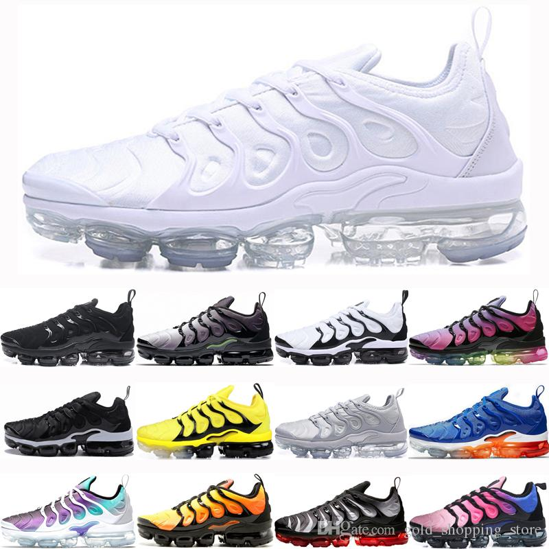 Compre Nike Air Vapormax Plus 2019 Plus Hombres Zapatos Para Correr Para  Hombre Triple Blanco Negro Bumblebee Be True Grape SUNSET Zebra Sport Shoes  ...