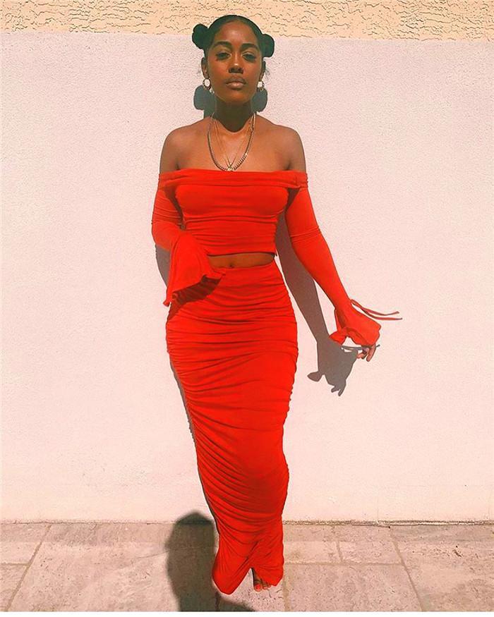 Stacked atractiva de las mujeres 2pcs diseñador de la mujer del verano del vestido de la manga de la llamarada de Blackless Establece Mujeres tubo superior con trajes de falda irregular