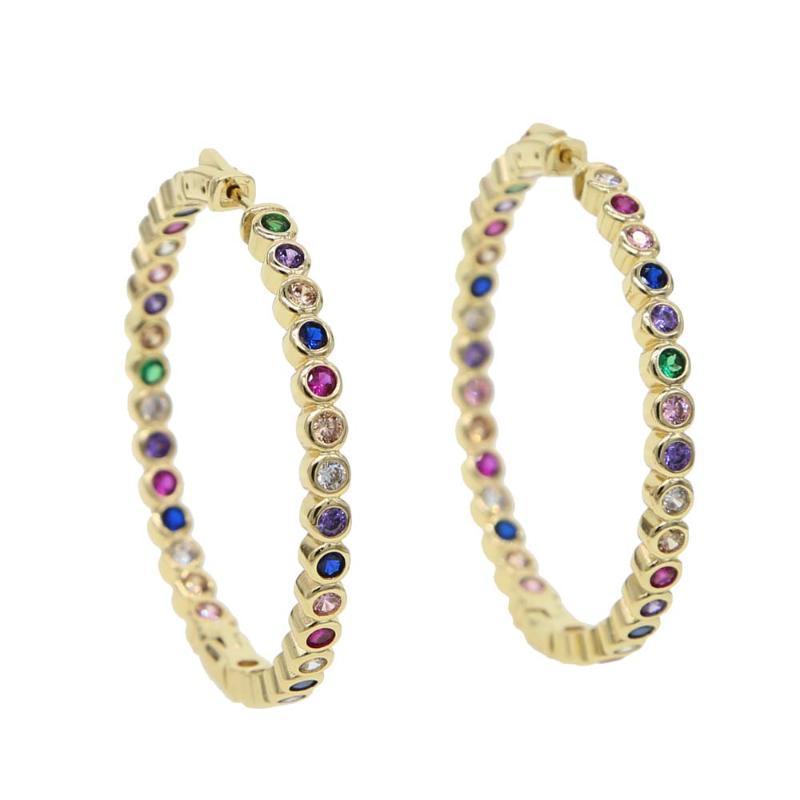 L'oro riempito arcobaleno colorato cz grande geometrica rotonda orecchino grande cz cerchi monili regalo europeo d'avanguardia del partito