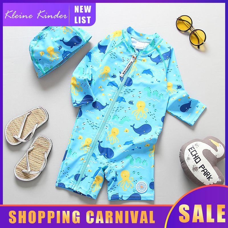 Swimsuit Whale crianças Imprimir mangas compridas UPF50 Criança de banho Clothes Zipper Up Boy Swimwear Crianças Swimming Suit Baby Beach Wear