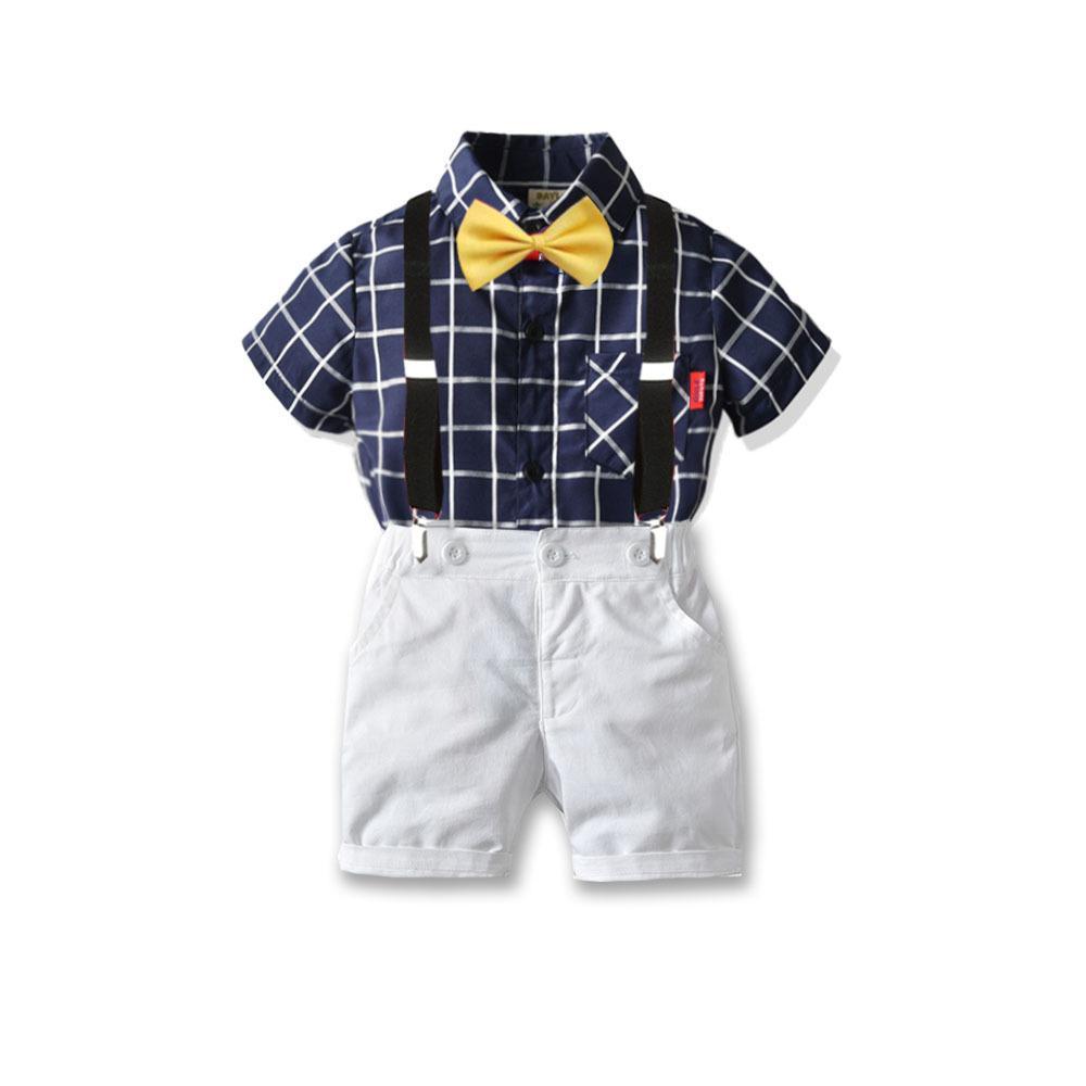 Bebek Erkek Yaz Setleri Çocuklar Ekose Kısa Kollu Gömlek + Askı Beyaz Şort 3 adet Çocuk Performans Giyim A2034