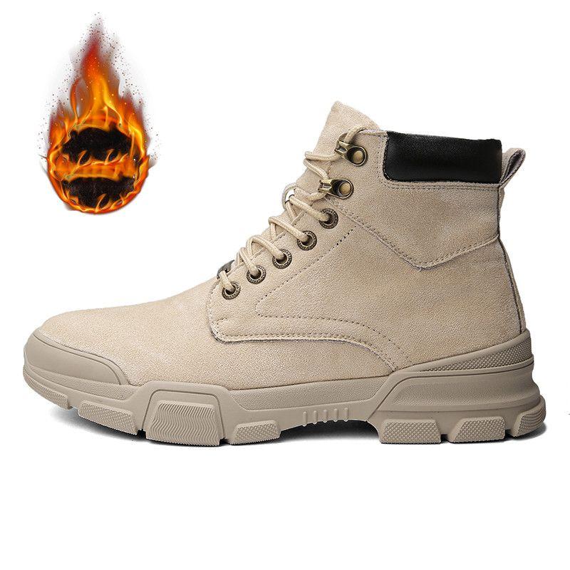 Мужчины Boots Мужчины Зимняя обувь Плюс Размер 38-44 Теплый голеностопного Botas Hombre Для кожи Зимние сапоги Обувь Плюшевые кроссовки Mens
