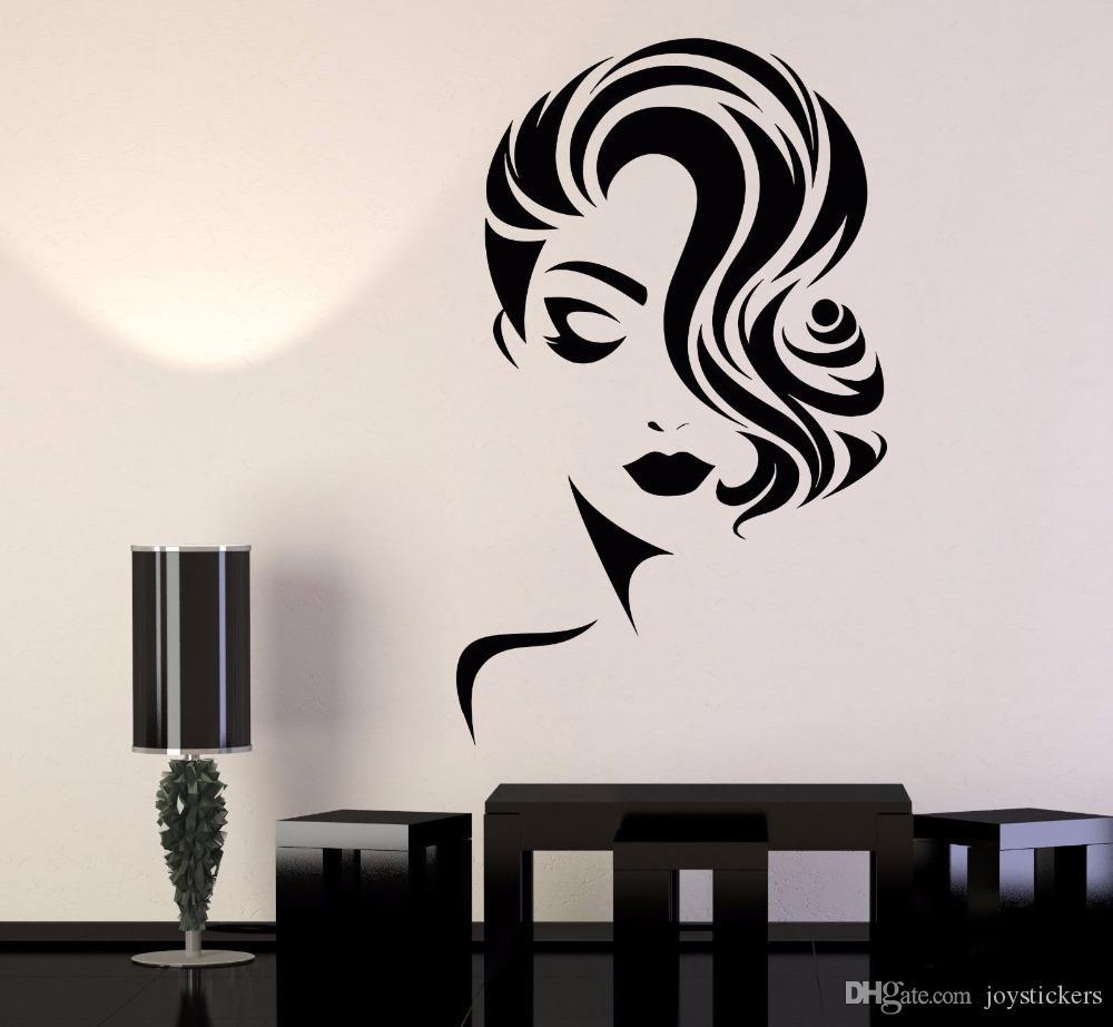 Girl Face Vinyl Wall Stickers Decor Beauty Salon Fashion Model Barbershop Sticker DIY Self-adhesive Wallpaper Mural