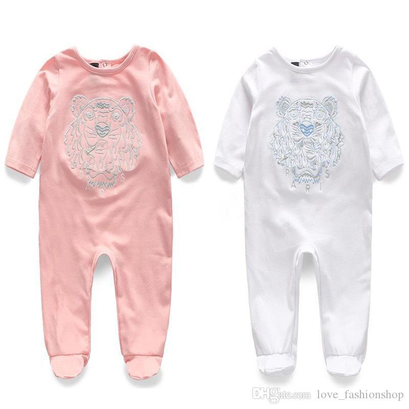 Retail neonato a maglia ricamo ricamo pagliaccetto di cotone 0-2y Pagliaccetti Toddle Body Body Bambini Bambini One-Piece Onesies Tute Suiuit