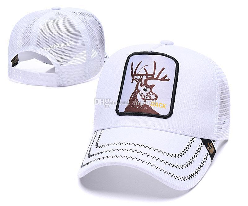 Sommer-Netzkappen Mode Visor Netz Hutfrauen Männer Hirsch Stickerei Baseballmütze Einstellbare Snapback Tiere Hat Golf-Ball-Kappe