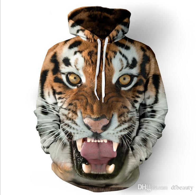 dos homens Tiger / crânio roupa 3D beijo Impresso Designer Hoodies Men manga comprida Mulheres Hoodies Halloween com capuz Casual capuz Tamanho S-5XL