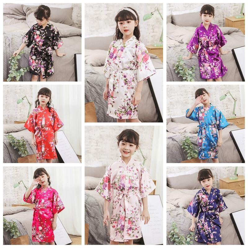 Crianças de cetim roupas casa aniversário de casamento Spa Partido quim Robe de Banho Flower Children Nightgown Para