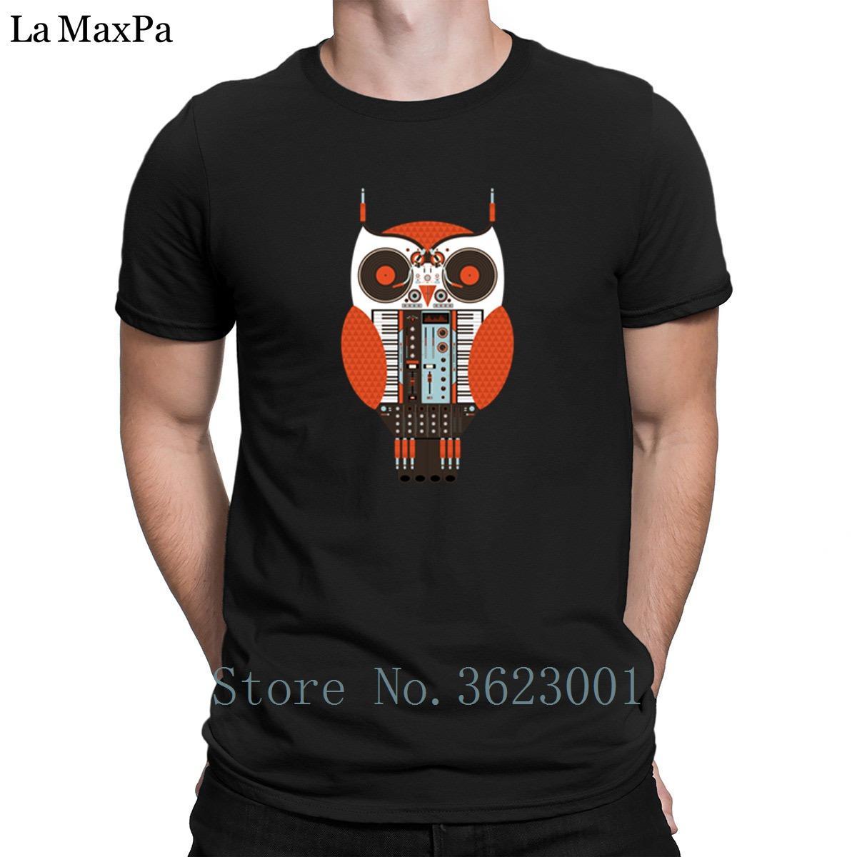 Proyectos Top tee camiseta búho Dj Hombres camiseta estándar obra clásica del hombre básico sólido Camiseta inteligente Euro tamaño S-3XL de los hombres