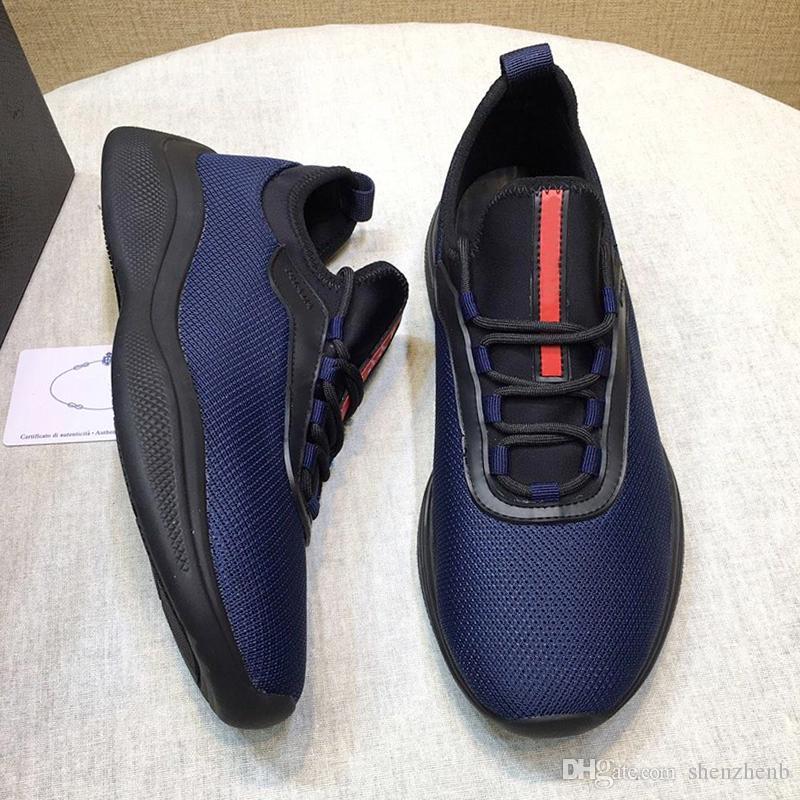 Prada Chegada nova Malha e tênis de neoprene sapatos masculinos com caixa de origem leve com cordões esportes moda clássico skate sapatos casuais