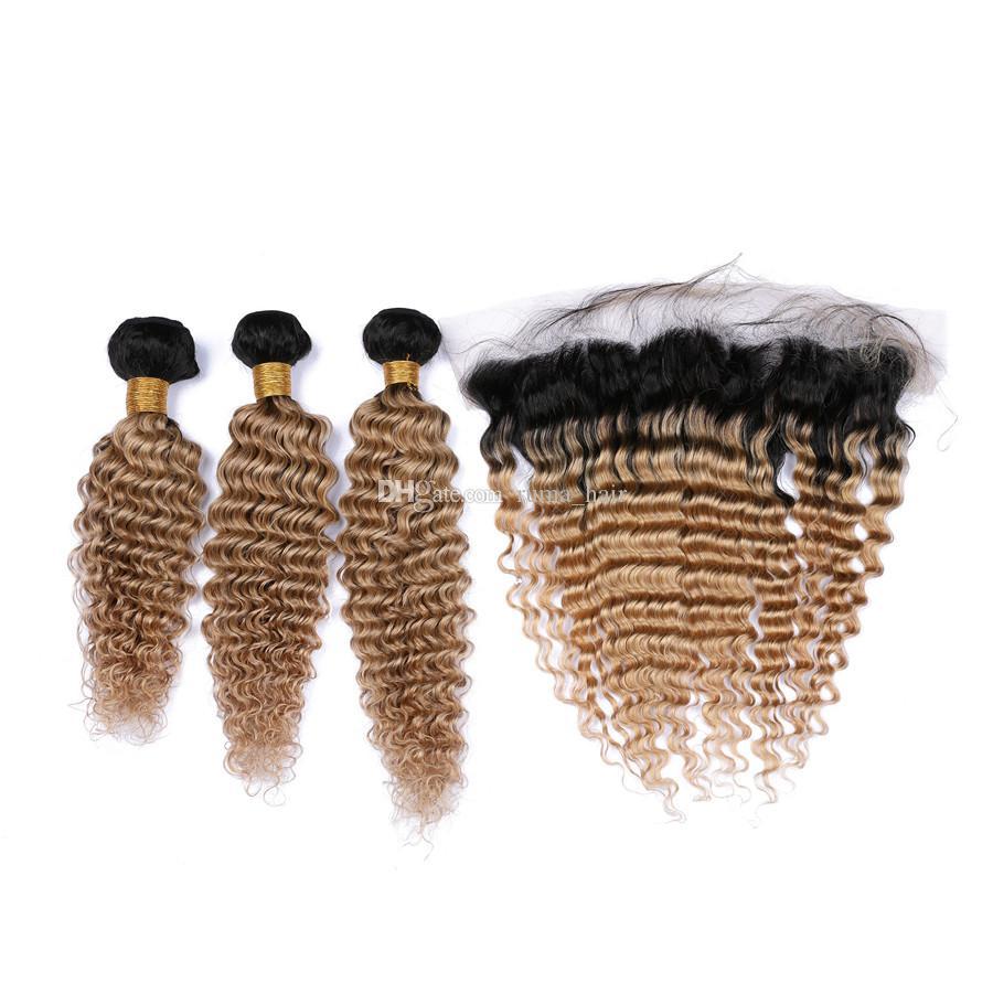 Dos tonos 1B / 27 Honey Blonde Ombre Full Lace Frontal con 3Bundles Deep Wave Strawberry Blonde Ombre El cabello humano brasileño teje con Frontal
