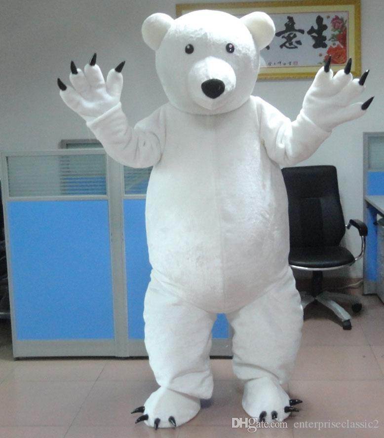 100% real photo of cute baby polar bear mascot costumes for adults for sale