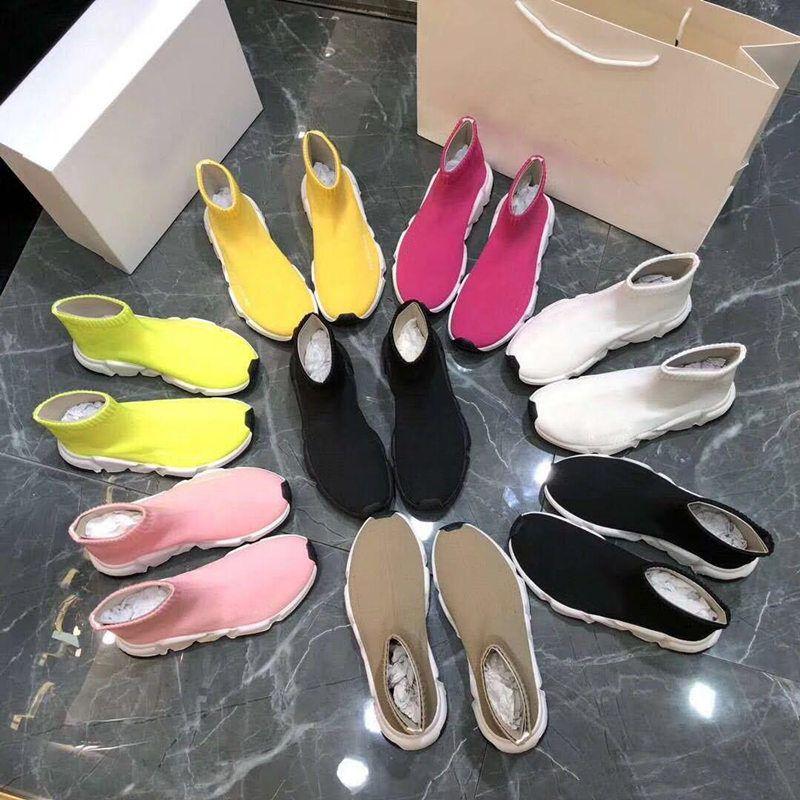 botas de homens mulheres calçados esportivos de designer de moda de luxo meia malha botas elásticas grande porte 35-46 desenhador respirável botas curtas par de sapatos